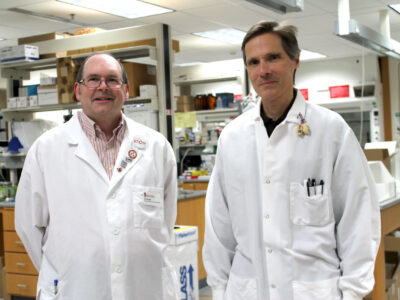 Ed Elder, director, and Mark Sacchetti, scientific director, of the UW–Madison School of Pharmacy's Zeeh Pharmaceutical Experiment Station