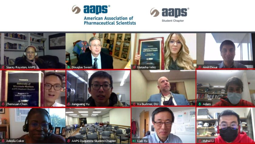 AAPS held a virtual Student Chapter Awards Reception on November 2 to honor the recipients. UW attendees are highlighted in red: Student Chapter members Zhenxuan Chen, Junguang Yu, Adam Kositzke, and Yuhui Li, with Faculty Advisor Lian Yu