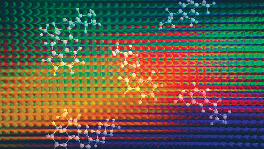 Molecules float in front of a psychedelic geometric pattern of dots.