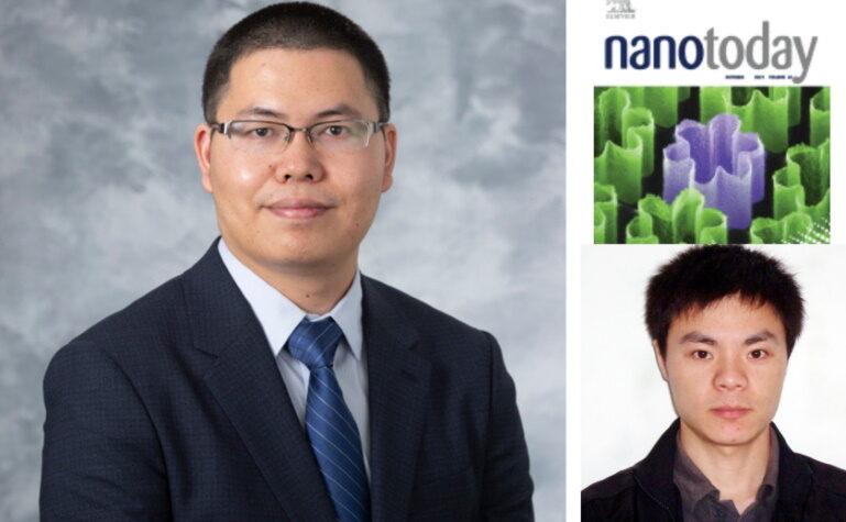 Dr. Quanyin Hu and postdoctoral researcher Jun Liu and Nano Today cover