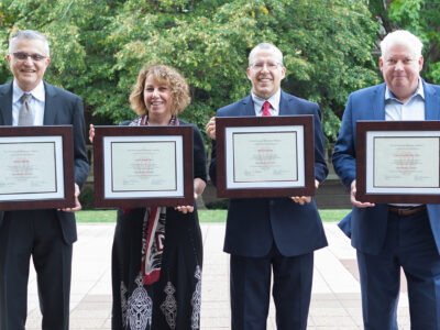 The School of Pharmacy's 2021 Citation of Merit recipients: Mehran Yazdanian (MS '88, PhD '90), Jayne Hastedt (MS '88, PhD '90), Bill Doucette (BS '83, MS '88, PhD '93), and Dan Luce (BS '81).