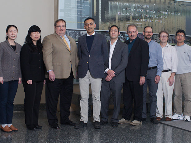 Pictured above. Pre-lecture several of the Pharmaceutical Sciences faculty were on hand to welcome Dr. Khosla. Left-right: Jiaoyang Jiang, assistant professor, Lingun Li, professor, Dean Steve Swanson, Chaitan Khosla, Jason Kwan, assistant professor and faculty host, Sandro Mecozzi, associate professor, Tim Bugni, associate professor, Chuck Lauhon, associate professor and Vice Chair, and Weiping Tang, associate professor.