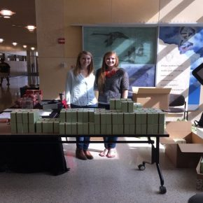 WSPS, ODA students, Kara Wischer, DPH-3 (left) and Emily Blaski, DPH-3, raise awareness about organ donation through the sale of Gigi's Cupcakes at the Health Sciences Learning Center in April.