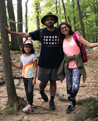 Abhijit Gadkari and his family hiking.