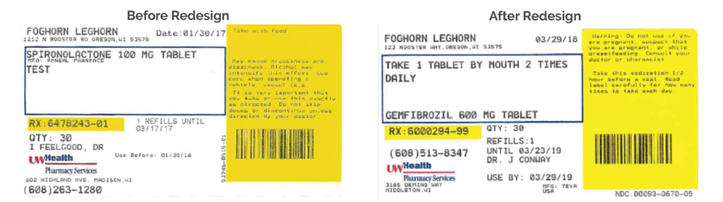 Redesign prescription medication label before and after.