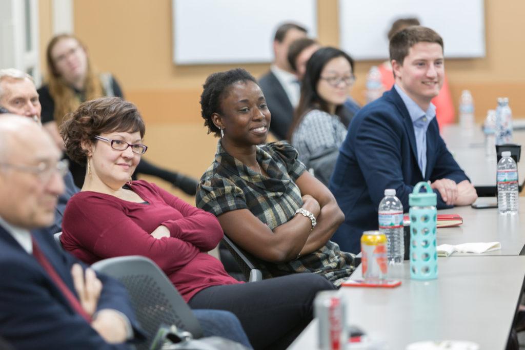 Assistant Professor Olufunmilola Abraham (center) , with Rebecca Beebe (left), Tom Pierson.