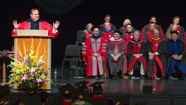 Dean Steve Swanson at the 2018 Hooding Ceremony.