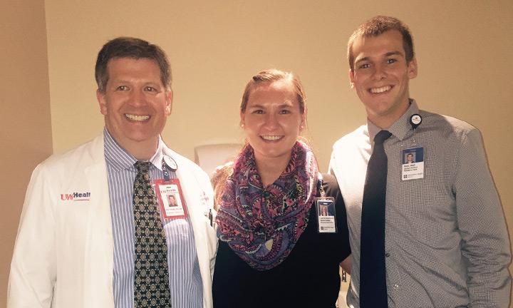 L-R: Dr. Patrick Dowling, Laura Josephson, Alex Hall.