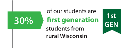 30%-40% of our students are first generation students from rural Wisconsin
